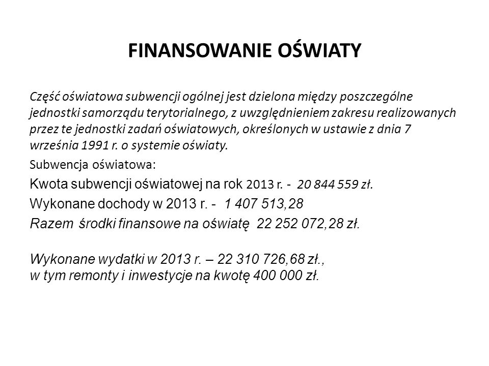 Analiza organizacyjna szkół i placówek w roku 2013/2014- stan na 30.09.2013 r.