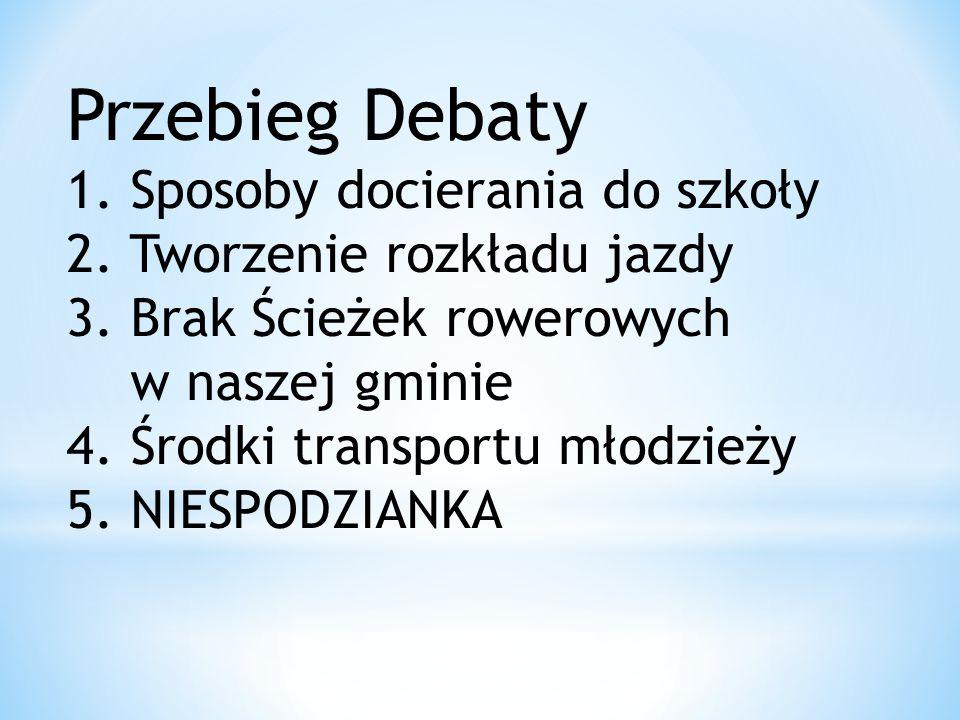 Przebieg Debaty 1. Sposoby docierania do szkoły 2. Tworzenie rozkładu jazdy 3. Brak Ścieżek rowerowych w naszej gminie 4. Środki transportu młodzieży