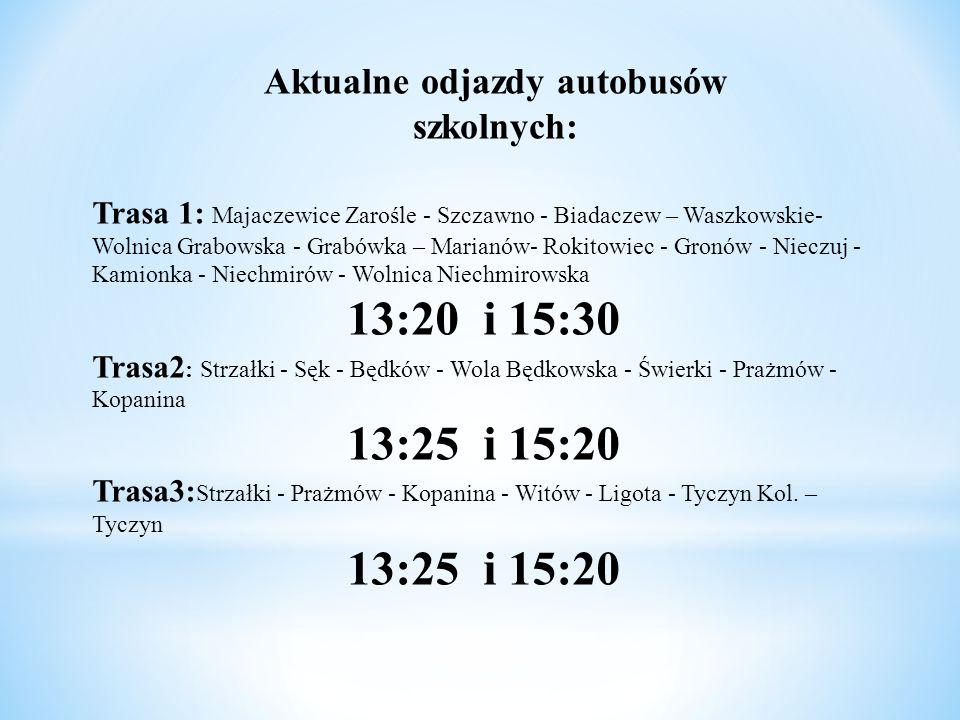 Trasa 1: Majaczewice Zarośle - Szczawno - Biadaczew – Waszkowskie- Wolnica Grabowska - Grabówka – Marianów- Rokitowiec - Gronów - Nieczuj - Kamionka -