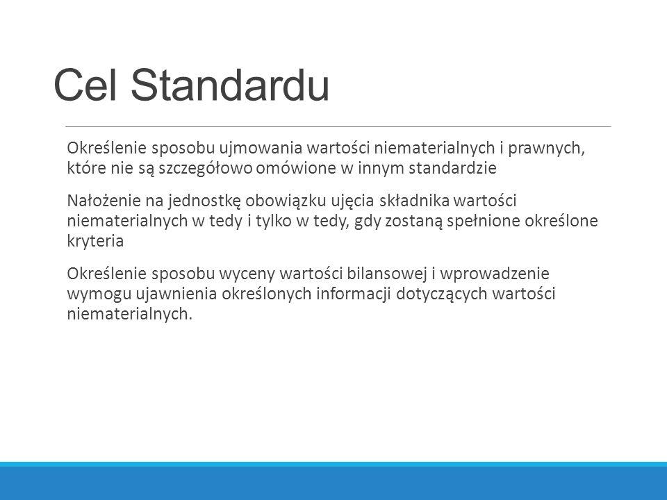 Cel Standardu Określenie sposobu ujmowania wartości niematerialnych i prawnych, które nie są szczegółowo omówione w innym standardzie Nałożenie na jed