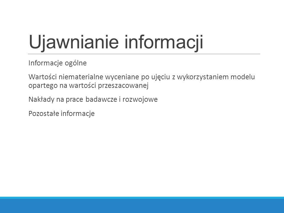 Ujawnianie informacji Informacje ogólne Wartości niematerialne wyceniane po ujęciu z wykorzystaniem modelu opartego na wartości przeszacowanej Nakłady