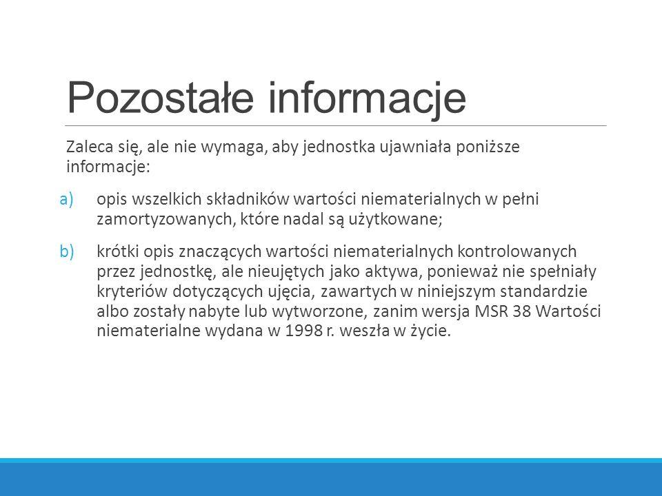 Pozostałe informacje Zaleca się, ale nie wymaga, aby jednostka ujawniała poniższe informacje: a)opis wszelkich składników wartości niematerialnych w p