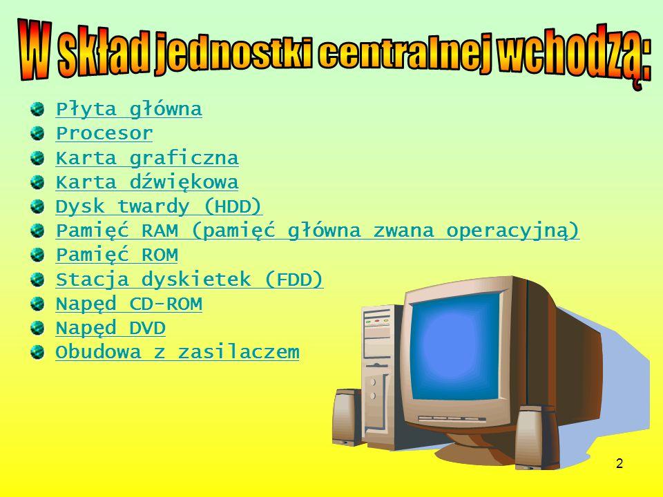to podstawowy element komputera, na niej znajduje się procesor i układy niezbędne do jego prawidłowej pracy oraz komunikowania się z pozostałymi elementami komputera, gniazda pamięci RAM, gniazda na karty rozszerzeń.