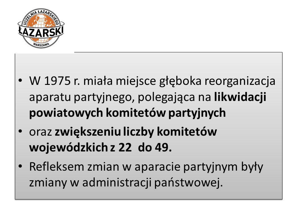 W 1975 r. miała miejsce głęboka reorganizacja aparatu partyjnego, polegająca na likwidacji powiatowych komitetów partyjnych oraz zwiększeniu liczby ko