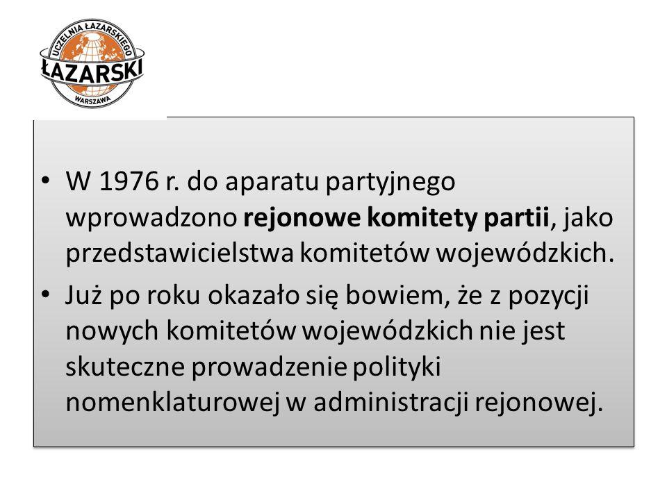 W 1976 r. do aparatu partyjnego wprowadzono rejonowe komitety partii, jako przedstawicielstwa komitetów wojewódzkich. Już po roku okazało się bowiem,