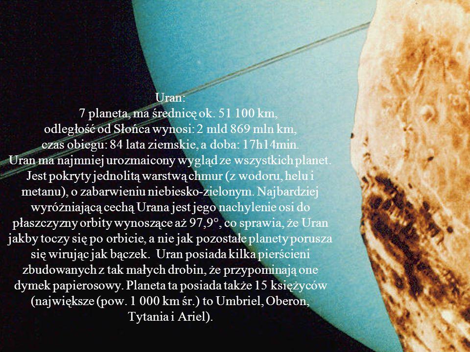 Uran: Masa [kg] - 86.83*10^24 Objętość [km^3] - 6833*10^10 Promień średni [km] - 25362 Średnia gęstość [kg/m^3] - 1318 Przyspieszenie grawitacyjne prz