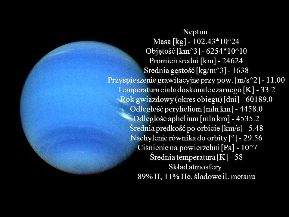 Uran: 7 planeta, ma średnicę ok. 51 100 km, odległość od Słońca wynosi: 2 mld 869 mln km, czas obiegu: 84 lata ziemskie, a doba: 17h14min. Uran ma naj