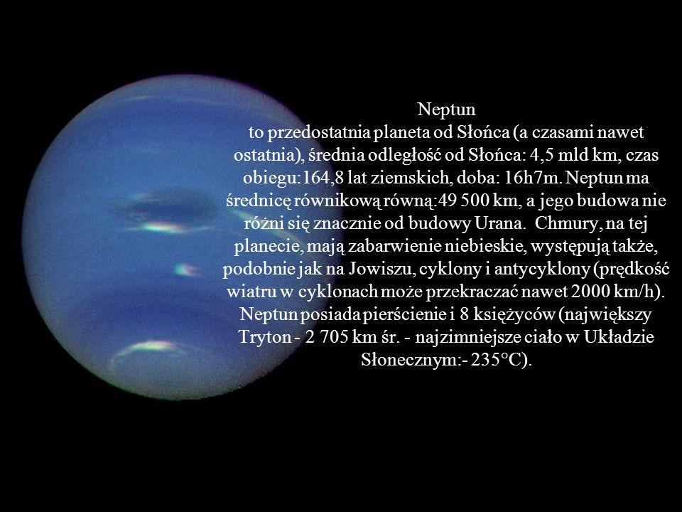 Neptun: Masa [kg] - 102.43*10^24 Objętość [km^3] - 6254*10^10 Promień średni [km] - 24624 Średnia gęstość [kg/m^3] - 1638 Przyspieszenie grawitacyjne przy pow.