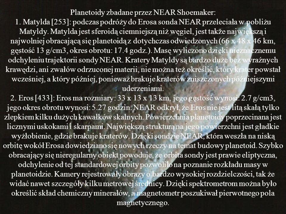 Planetoidy zbadane przez Galileo podczas jego podróży do Jowisza: Gaspra [951]: była pierwszą planetoidą do jakiej udało się zbliżyć sondzie Galileo w