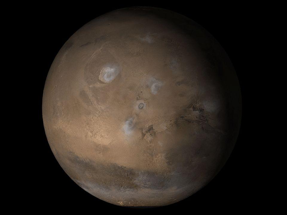 Mars: C zwarta, w kolejności, planeta od Słońca, jest także ostatnią planetą wewnętrzną.