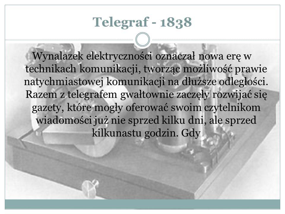 Telegraf - 1838 Wynalazek elektryczności oznaczał nowa erę w technikach komunikacji, tworząc możliwość prawie natychmiastowej komunikacji na dłuższe o