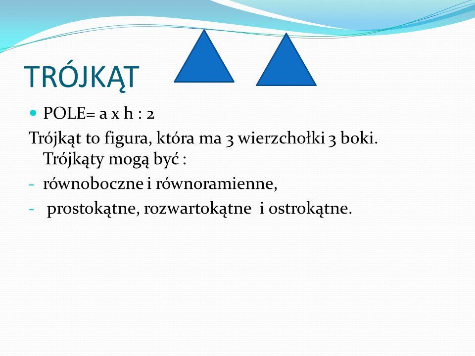 TRÓJKĄT POLE= a x h : 2 Trójkąt to figura, która ma 3 wierzchołki 3 boki. Trójkąty mogą być : - równoboczne i równoramienne, - prostokątne, rozwartoką