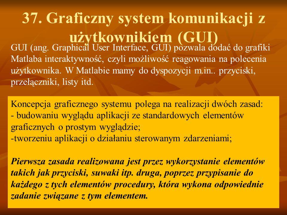 37. Graficzny system komunikacji z użytkownikiem (GUI) Koncepcja graficznego systemu polega na realizacji dwóch zasad: - budowaniu wyglądu aplikacji z