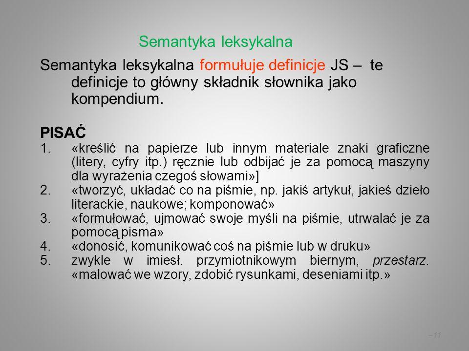 –11 Semantyka leksykalna formułuje definicje JS – te definicje to główny składnik słownika jako kompendium. PISAĆ 1.«kreślić na papierze lub innym mat