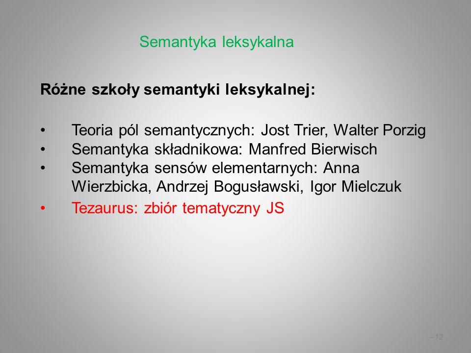–12 Różne szkoły semantyki leksykalnej: Teoria pól semantycznych: Jost Trier, Walter Porzig Semantyka składnikowa: Manfred Bierwisch Semantyka sensów
