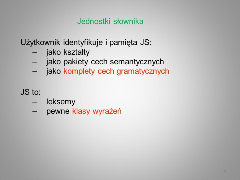 –5–5 Użytkownik identyfikuje i pamięta JS: –jako kształty –jako pakiety cech semantycznych –jako komplety cech gramatycznych JS to: –leksemy –pewne kl