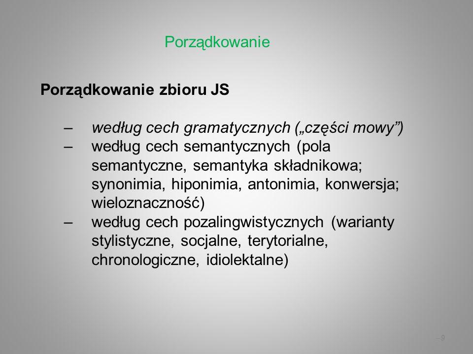 """–9–9 Porządkowanie zbioru JS –według cech gramatycznych (""""części mowy"""") –według cech semantycznych (pola semantyczne, semantyka składnikowa; synonimia"""