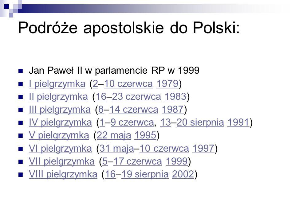 Podróże apostolskie do Polski: Jan Paweł II w parlamencie RP w 1999 I pielgrzymka (2–10 czerwca 1979) I pielgrzymka210 czerwca1979 II pielgrzymka (16–