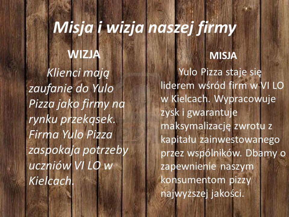Misja i wizja naszej firmy MISJA Yulo Pizza staje się liderem wśród firm w VI LO w Kielcach.