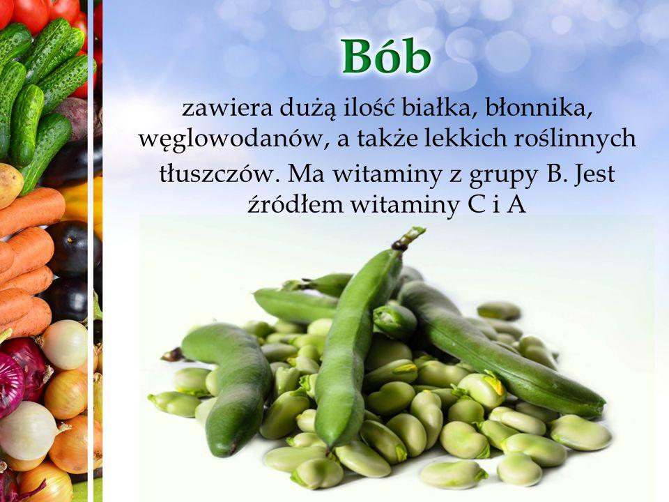 zawiera dużą ilość białka, błonnika, węglowodanów, a także lekkich roślinnych tłuszczów. Ma witaminy z grupy B. Jest źródłem witaminy C i A