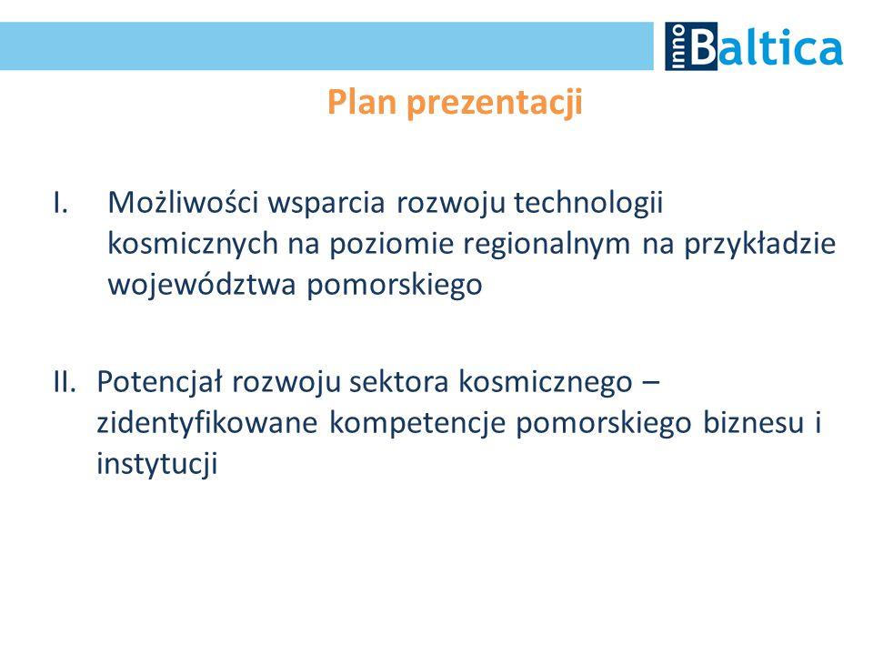 Plan prezentacji I.Możliwości wsparcia rozwoju technologii kosmicznych na poziomie regionalnym na przykładzie województwa pomorskiego II.Potencjał roz