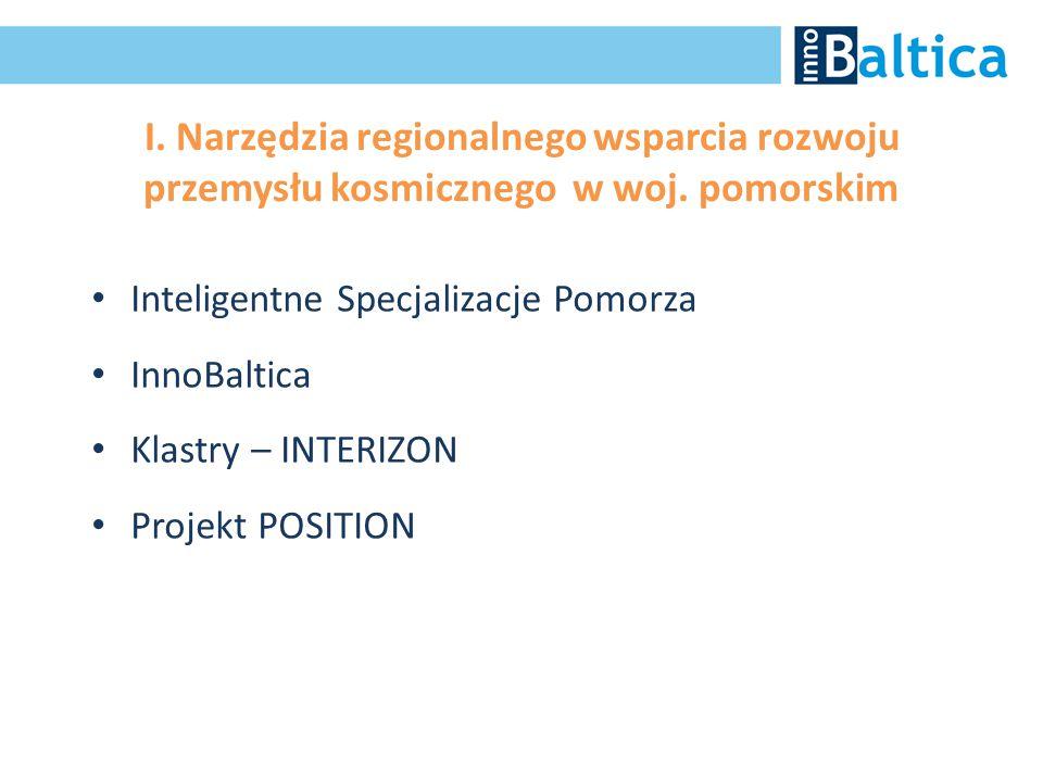 I. Narzędzia regionalnego wsparcia rozwoju przemysłu kosmicznego w woj. pomorskim Inteligentne Specjalizacje Pomorza InnoBaltica Klastry – INTERIZON P