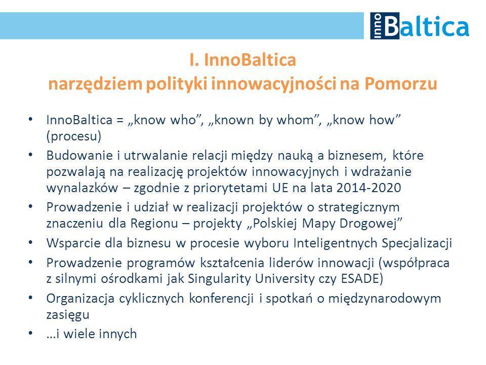 """I. InnoBaltica narzędziem polityki innowacyjności na Pomorzu InnoBaltica = """"know who"""", """"known by whom"""", """"know how"""" (procesu) Budowanie i utrwalanie re"""