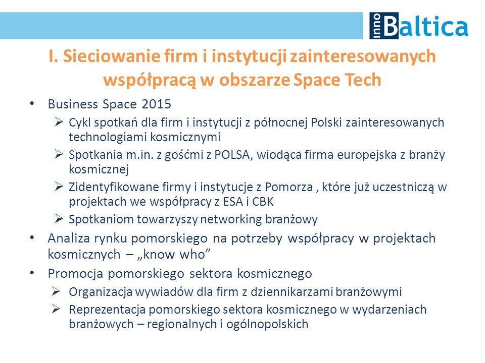 I. Sieciowanie firm i instytucji zainteresowanych współpracą w obszarze Space Tech Business Space 2015  Cykl spotkań dla firm i instytucji z północne