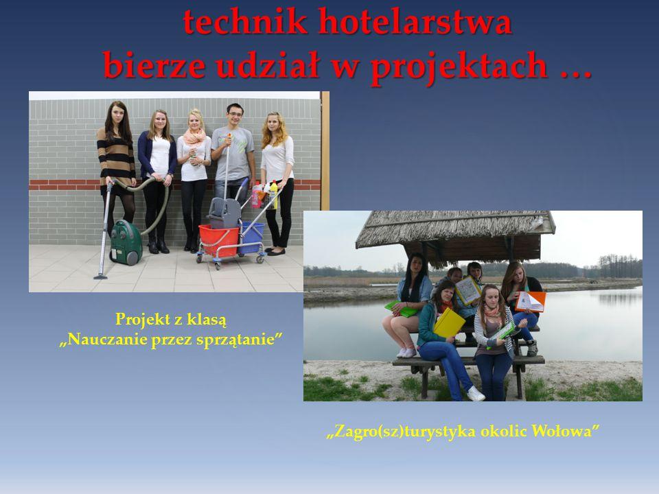 """technik hotelarstwa bierze udział w projektach … Projekt z klasą """"Nauczanie przez sprzątanie"""" """"Zagro(sz)turystyka okolic Wołowa"""""""