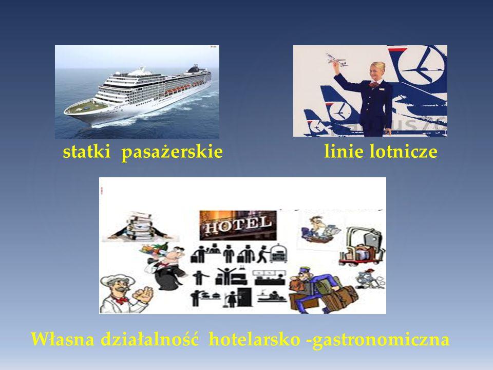 statki pasażerskie linie lotnicze Własna działalność hotelarsko -gastronomiczna