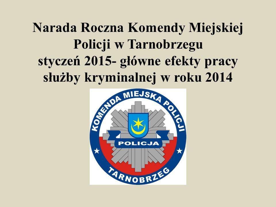 Narada Roczna Komendy Miejskiej Policji w Tarnobrzegu styczeń 2015- główne efekty pracy służby kryminalnej w roku 2014