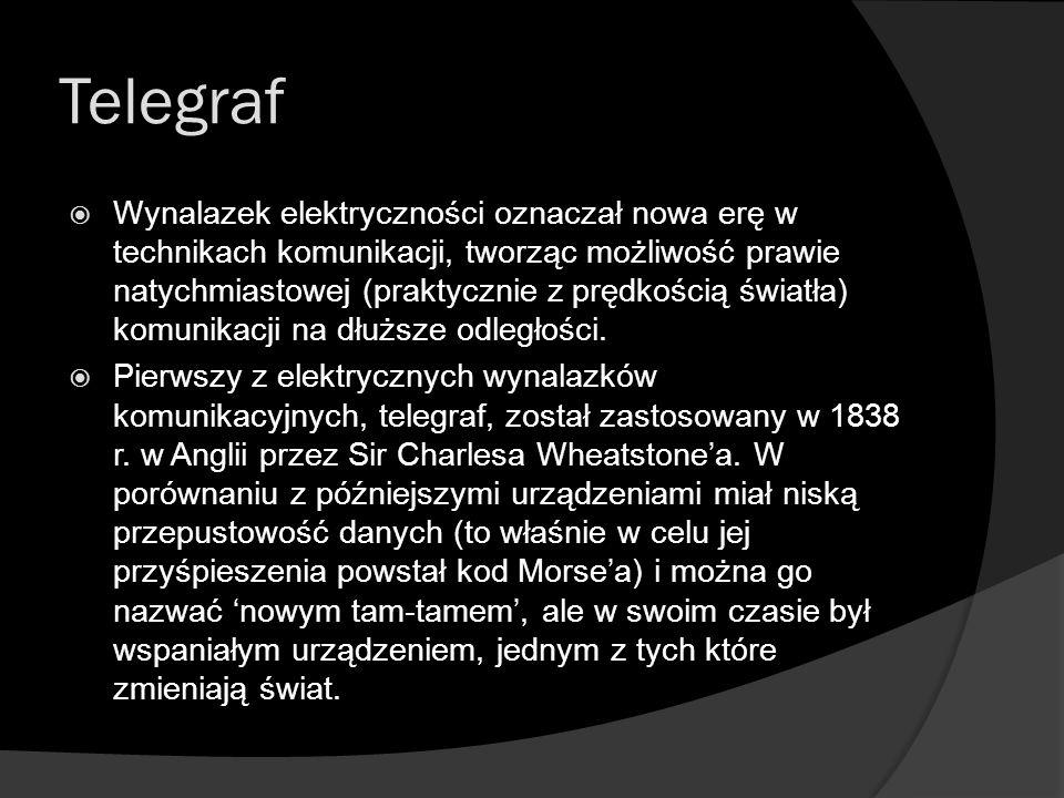 Telegraf  Wynalazek elektryczności oznaczał nowa erę w technikach komunikacji, tworząc możliwość prawie natychmiastowej (praktycznie z prędkością świ