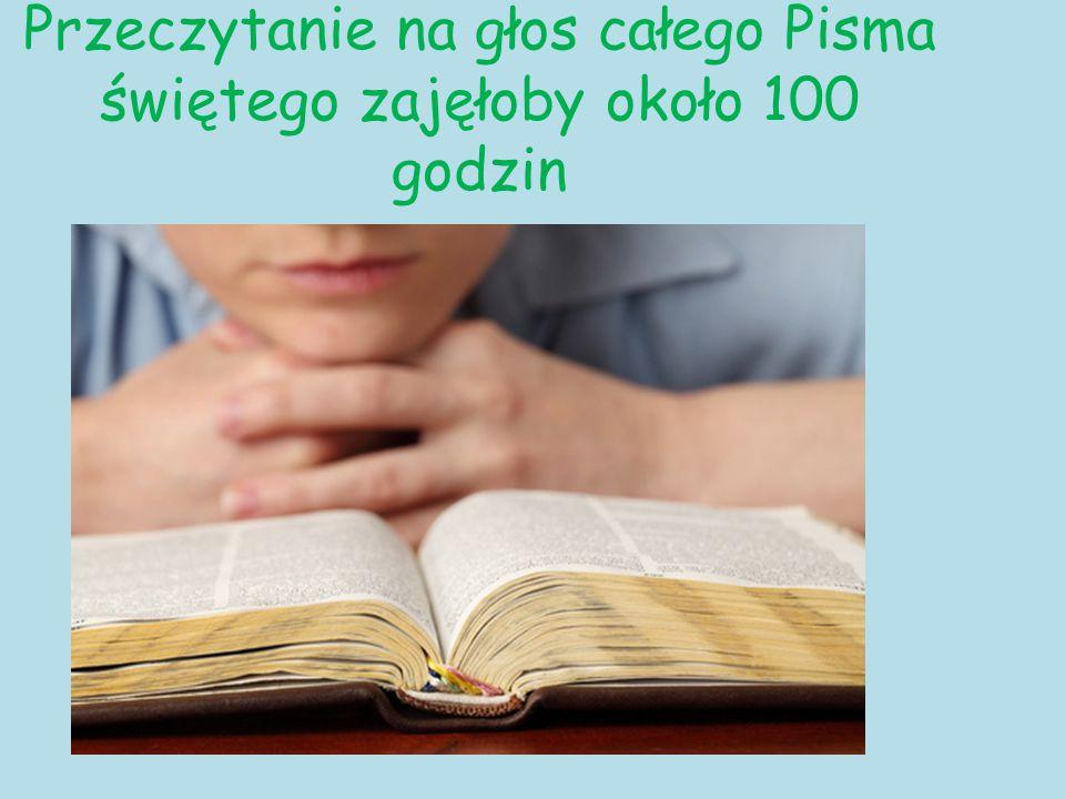 Przeczytanie na głos całego Pisma świętego zajęłoby około 100 godzin