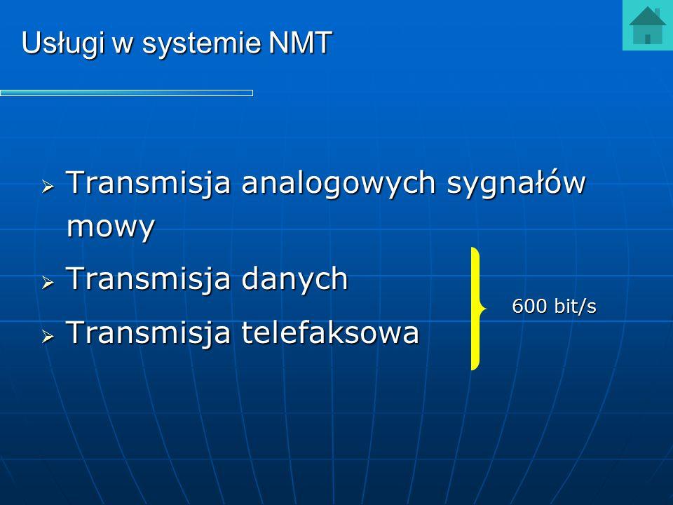 Usługi w systemie NMT  Transmisja analogowych sygnałów mowy  Transmisja danych  Transmisja telefaksowa 600 bit/s
