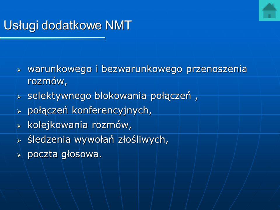 Usługi dodatkowe NMT  warunkowego i bezwarunkowego przenoszenia rozmów,  selektywnego blokowania połączeń,  połączeń konferencyjnych,  kolejkowani
