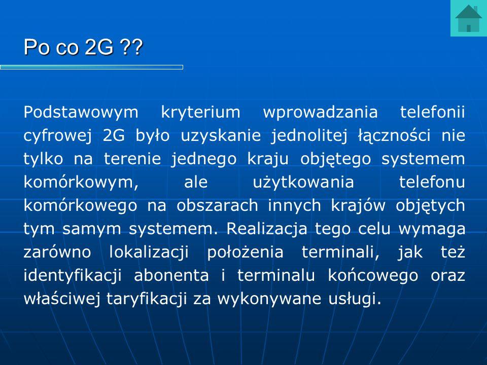 Po co 2G ?? Podstawowym kryterium wprowadzania telefonii cyfrowej 2G było uzyskanie jednolitej łączności nie tylko na terenie jednego kraju objętego s