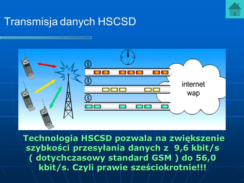Transmisja danych HSCSD Technologia HSCSD pozwala na zwiększenie szybkości przesyłania danych z 9,6 kbit/s ( dotychczasowy standard GSM ) do 56,0 kbit