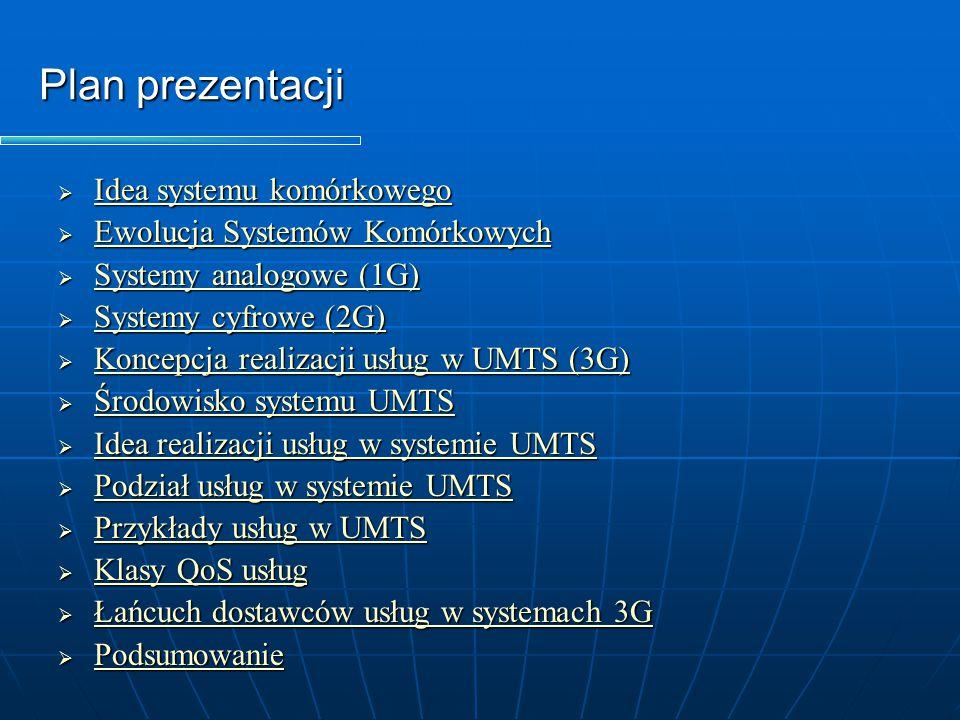 Idea realizacji usług w systemie UMTS   System UMTS zorientowany jest na świadczenie usług użytkownikom końcowym, które są definiowane parametrami jakościowymi QoS (end-to- end QoS).