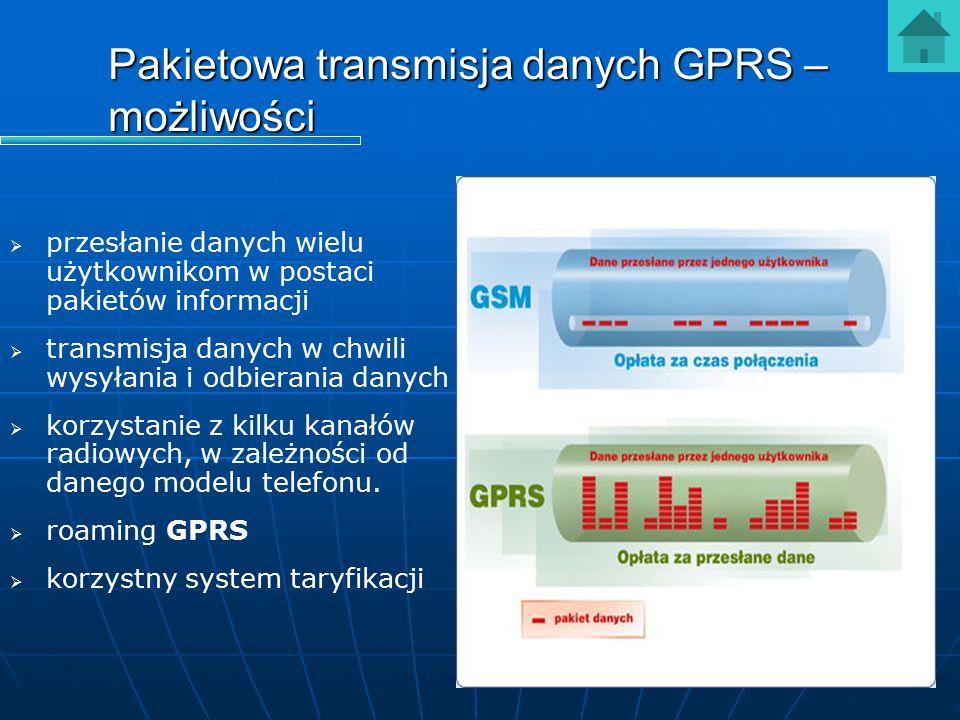 Pakietowa transmisja danych GPRS – możliwości   przesłanie danych wielu użytkownikom w postaci pakietów informacji   transmisja danych w chwili wy