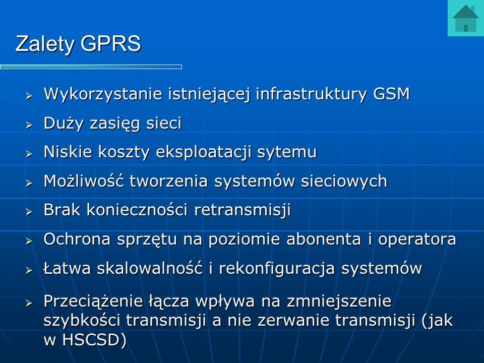 Zalety GPRS  Wykorzystanie istniejącej infrastruktury GSM  Duży zasięg sieci  Niskie koszty eksploatacji sytemu  Możliwość tworzenia systemów siec