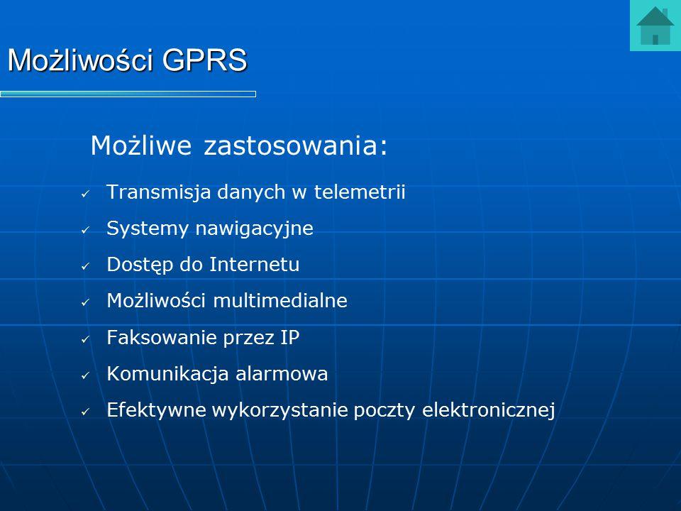 Możliwości GPRS Możliwe zastosowania: Transmisja danych w telemetrii Systemy nawigacyjne Dostęp do Internetu Możliwości multimedialne Faksowanie przez