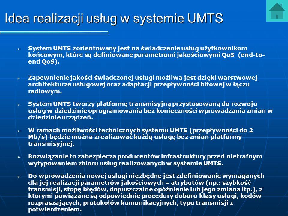 Idea realizacji usług w systemie UMTS   System UMTS zorientowany jest na świadczenie usług użytkownikom końcowym, które są definiowane parametrami j