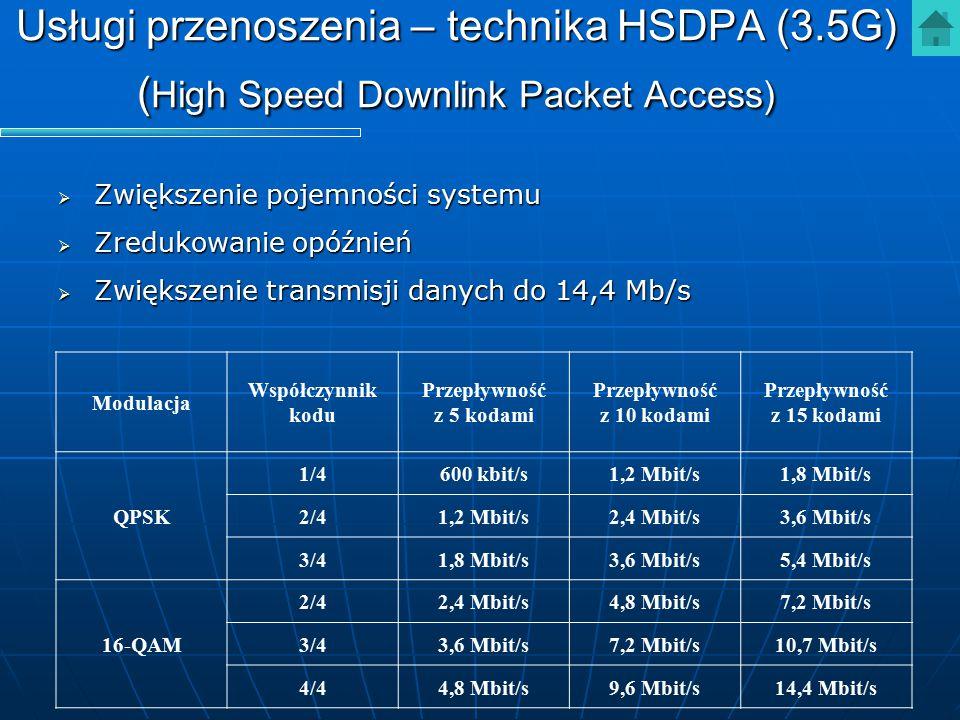 Usługi przenoszenia – technika HSDPA (3.5G) ( High Speed Downlink Packet Access)  Zwiększenie pojemności systemu  Zredukowanie opóźnień  Zwiększeni