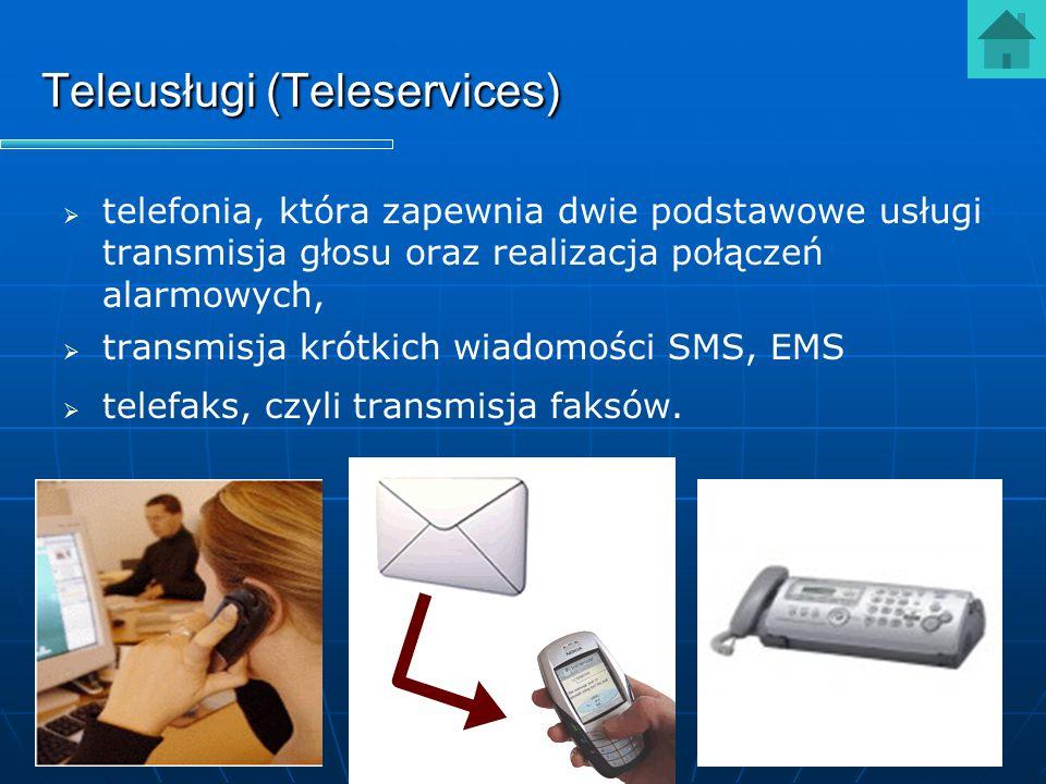 Teleusługi (Teleservices)   telefonia, która zapewnia dwie podstawowe usługi transmisja głosu oraz realizacja połączeń alarmowych,   transmisja kr