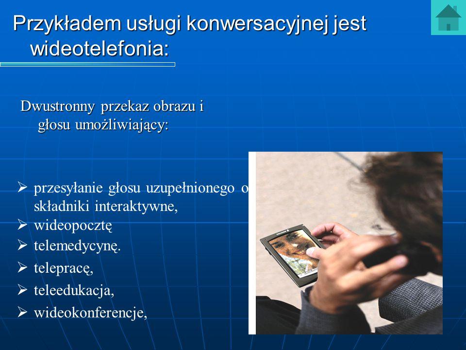 Dwustronny przekaz obrazu i głosu umożliwiający:   przesyłanie głosu uzupełnionego o składniki interaktywne,   wideopocztę   telemedycynę.   t
