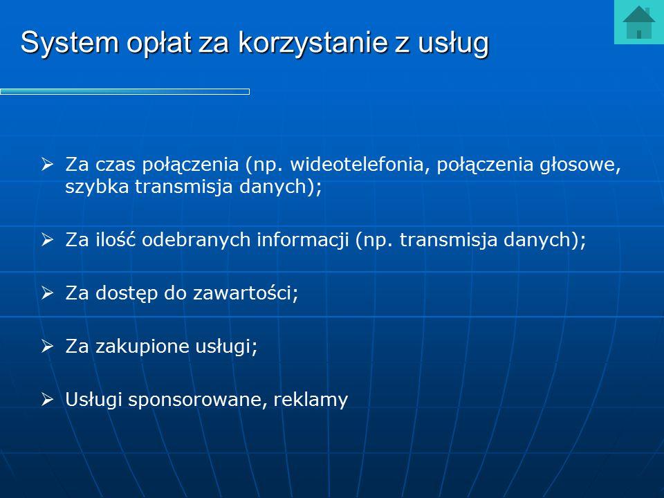 System opłat za korzystanie z usług   Za czas połączenia (np. wideotelefonia, połączenia głosowe, szybka transmisja danych);   Za ilość odebranych
