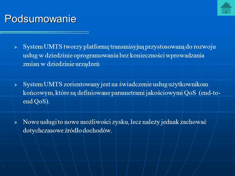   System UMTS tworzy platformę transmisyjną przystosowaną do rozwoju usług w dziedzinie oprogramowania bez konieczności wprowadzania zmian w dziedzi