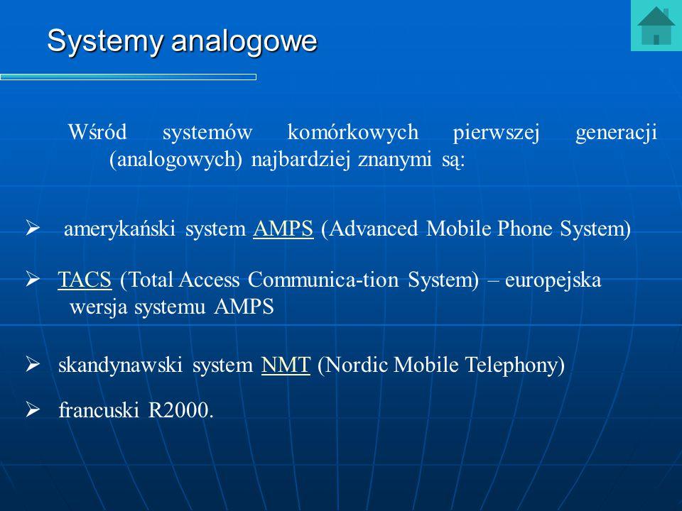 Wśród systemów komórkowych pierwszej generacji (analogowych) najbardziej znanymi są: Systemy analogowe   francuski R2000.   skandynawski system NM