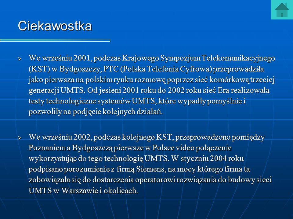Ciekawostka  We wrześniu 2001, podczas Krajowego Sympozjum Telekomunikacyjnego (KST) w Bydgoszczy, PTC (Polska Telefonia Cyfrowa) przeprowadziła jako