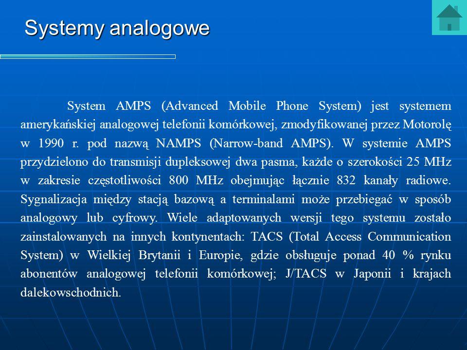 Systemy analogowe System AMPS (Advanced Mobile Phone System) jest systemem amerykańskiej analogowej telefonii komórkowej, zmodyfikowanej przez Motorol